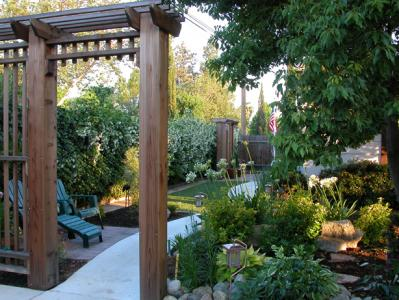 Trellises, Sidewalk and Landscaping
